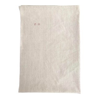Vintage French Oversized Linen Dishtowel 'En' For Sale