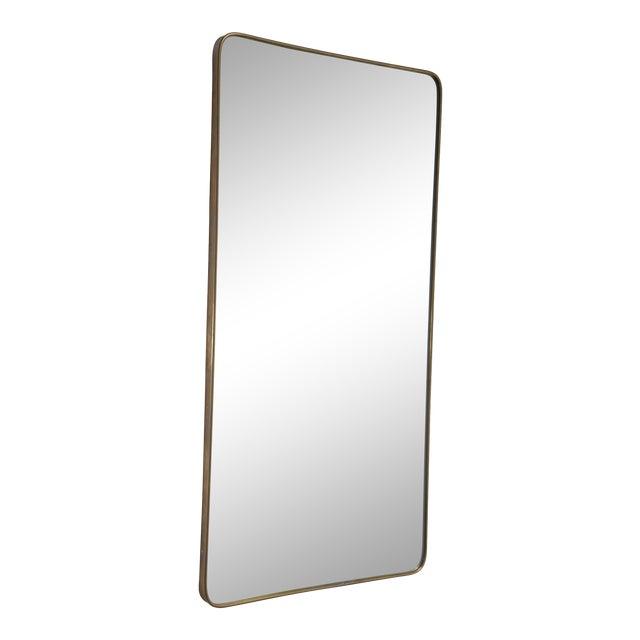 Rectangular Italian Brass Mirror, 1950s For Sale