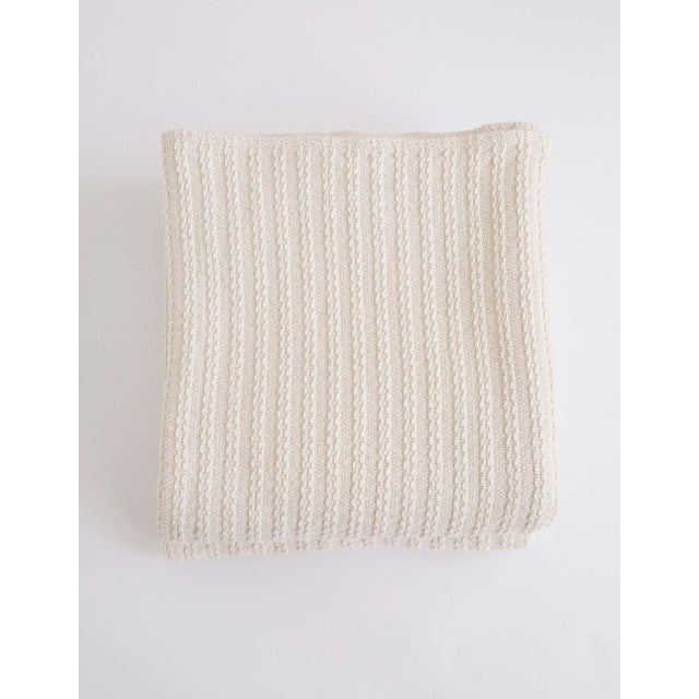 Cableknit Blanket in Natural, Full/Queen For Sale - Image 10 of 10