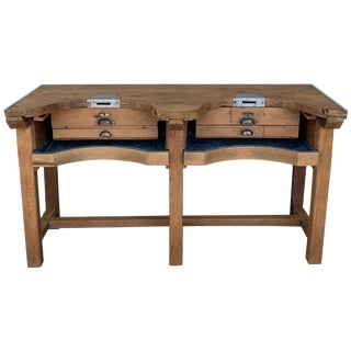 French Jewery Bench or Work Bench Table With Zinc-Lined Drawers and Compartment For Sale