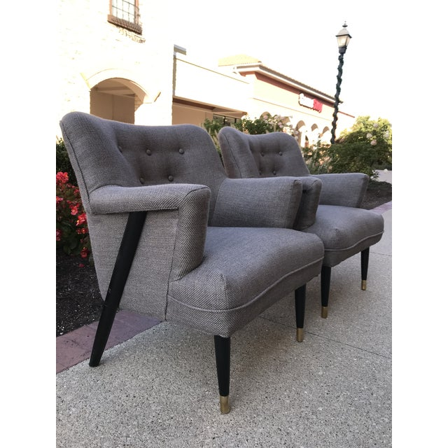 Metal Mid Century Modern Vintage Gray Tweed Dunbar Era Occasional Club Chairs- a Pair MCM For Sale - Image 7 of 8