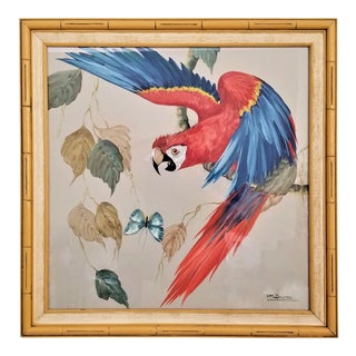 Vintage Watercolor Painting Macaw Bird & Butterfly--Faux Bamboo Tree Tropical Coastal Hollywood Regency Boho Chic Palm Beach Mid Century Modern MCM