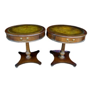 Antique Leather Top Circular Lamp Table - Set of 2 For Sale