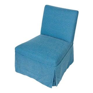 Blue Upholstered Slipper Chair For Sale