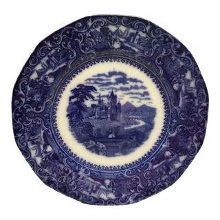 Circa 1870s Staffordshire Porcelain Plate - Flow Blue Watteau For Sale