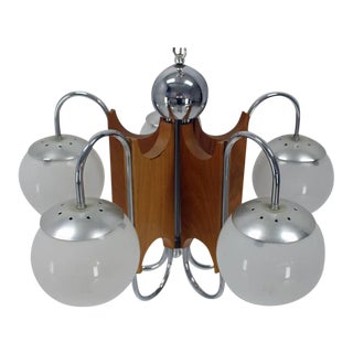 Five-Globe Shades Mid-Century Modern Chandelier For Sale