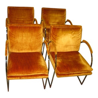 Mid Century Modern Erwin Lambeth Orange Velvet Arm Chairs- Set of 4 For Sale