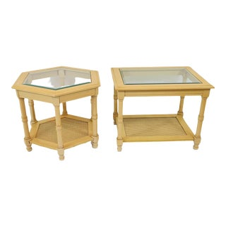 Vintage Faux Bamboo Glass Insert Side Tables: One Rectangle One Octagon - a Pair For Sale