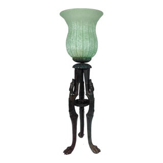 Murano Glass Hurricane Lamp with Bronze Whippet Legs