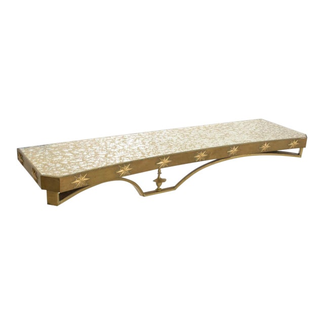 Arturo Pani Mid-Century Mexican Modernist Star Brass Wall Console Table For Sale