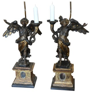 Pair of Italian Carved Wood and Gilt Angel Reliquary Pricket Candelabra as Lamps For Sale