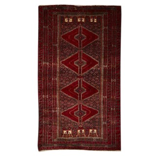 Traditional Afghani Beluc Rug W/ Stacked Medallion Pattern Circa 1950s
