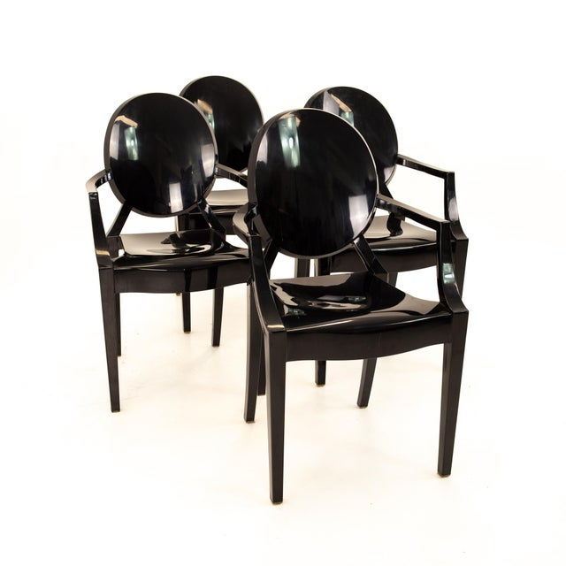 Kartell Mid Century Black Acrylic Ghost Dining Chairs - Set of 4 For Sale - Image 11 of 11