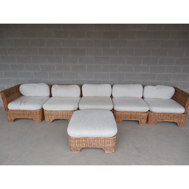 Vintage Wicker Sectional Patio Seating Set - Set of 6 - Image 2 of 8