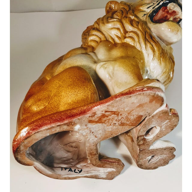 Vintage Italian Lion Terra Cotta Figurine For Sale - Image 10 of 13