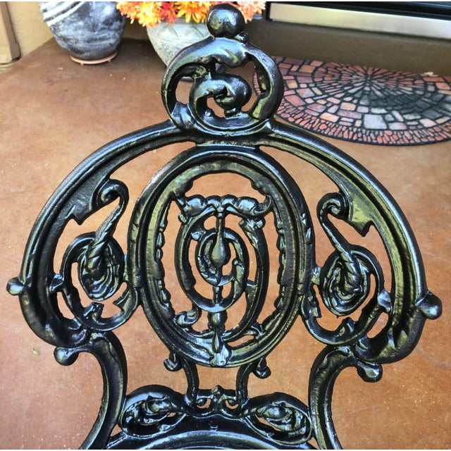 Metal Early 20th Century French Victorian Cast Iron Garden Chair by Atlanta Stove Works For Sale - Image 7 of 13