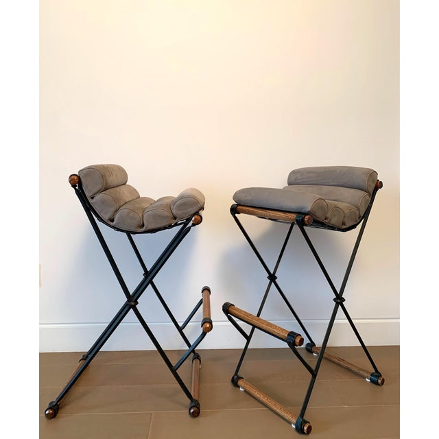 Mid-Century Modern Cleo Baldon Iron & Suede Bar Stools - Set of 4 For Sale - Image 3 of 13