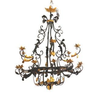 20th Century Italian Renaissance Style 18-Light Iron Chandelier For Sale