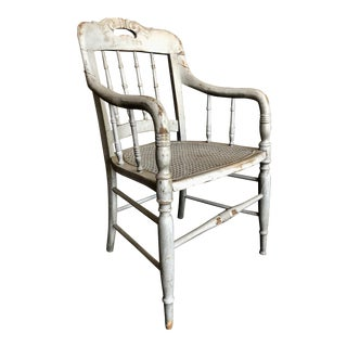 1940s Vintage Shabby Chic Lilac Wood and Cane Accent Chair For Sale