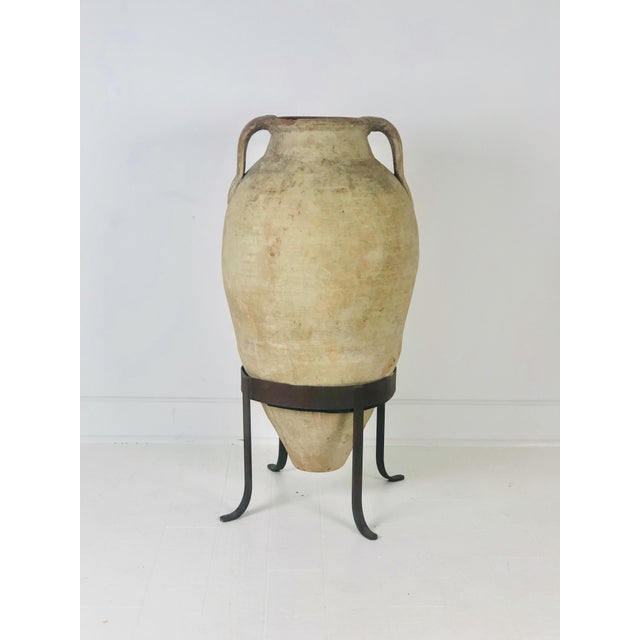 Orange Large and Tall Amphora in Later Steel Stand For Sale - Image 8 of 8