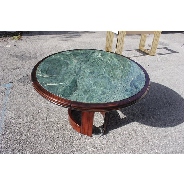 French Art Deco Macassar Ebony Round Center Table With Green Marble Top For Sale - Image 9 of 13
