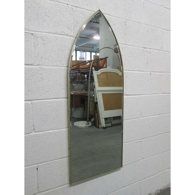 Italian Modernist Arched Mirror w/ Brass Frame - Image 2 of 3