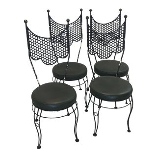 Salterini Style Black Metal Dining Chairs - Set of 4 For Sale