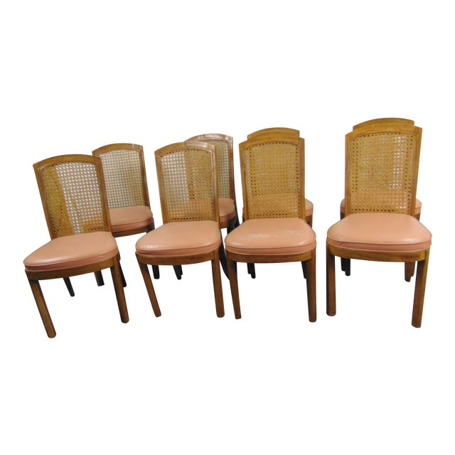 Drexel Mid Century Modern Fruitwood Caned Dining Chairs - Set of 8 For Sale