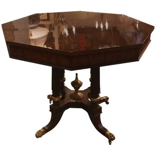 Flame Mahogany Parcel-Gilt Center Table For Sale