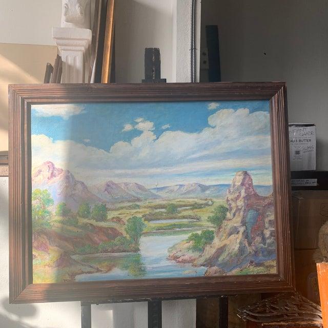 1940s 1940s Southwestern Australian Landscape Oil Painting, Framed For Sale - Image 5 of 5