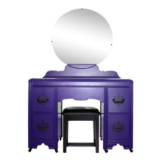 Purple & Black Damask Mirrored Vanity & Stool For Sale