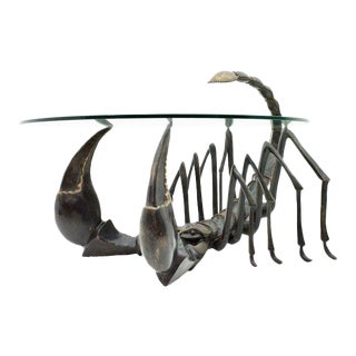 Bronze Scorpion Coffee Table Attributed to Jacques Duval-Brasseur France, 1970s For Sale