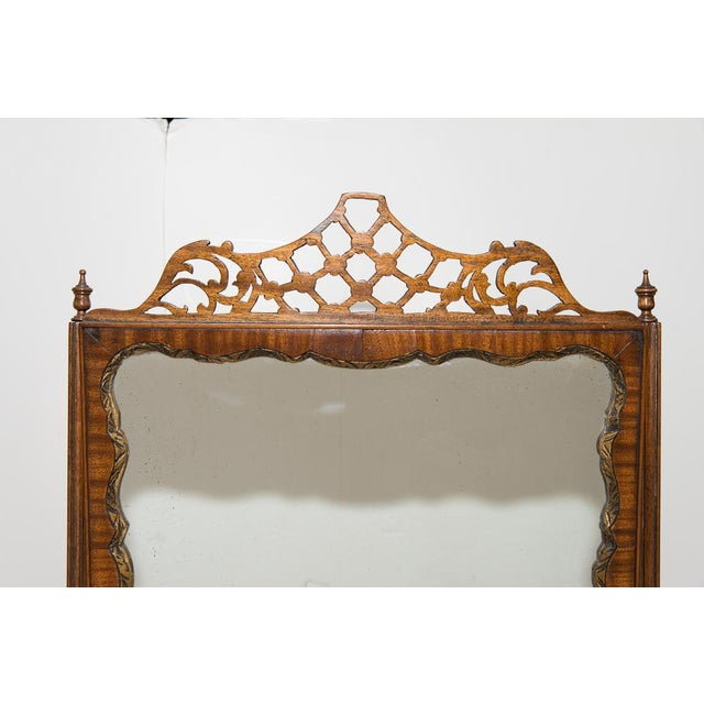 Antique English Walnut Ladies Vanity Mirror For Sale In West Palm - Image 6 of 7