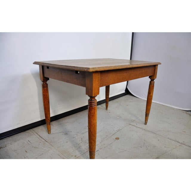Vintage French Oak Farmhouse Dining Table For Sale - Image 4 of 9