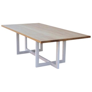 Country Cerused, Rift-Sawn White Oak Dining Table For Sale
