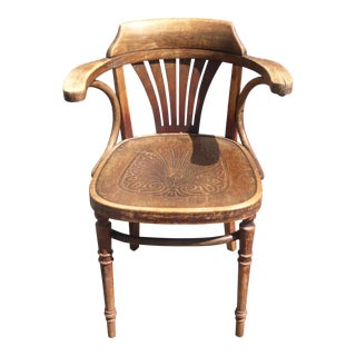 Unique Antique Rustic French Ornately Carved Wood Floral Design Accent Chair For Sale