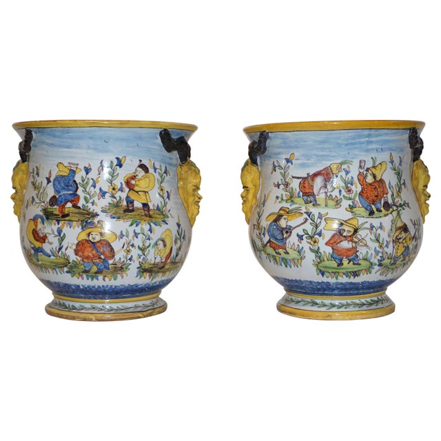 1870s French Yellow, Blue, Green, Red, White Majolica Jardinières / Planters - a Pair For Sale - Image 13 of 13
