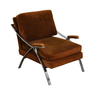Carsons Mid Century Modern Chrome Frame Lounge Chair For Sale