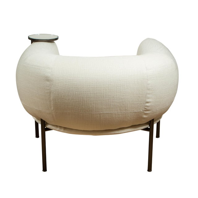 Contemporary Ivory Club Chair With Connected Cocktail Table For Sale - Image 3 of 5