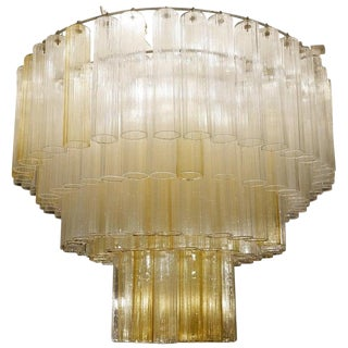 Large Murano Glass Tubes Chandeliers For Sale