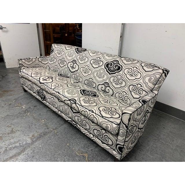 Design Plus Gallery presents a Custom A. Rudin #2612 Sofa + Osborne & Little Fabric. Graphic Linen blend fabric is...