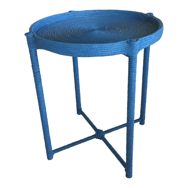 Contemporary Prussian Blue Rope Side Table For Sale