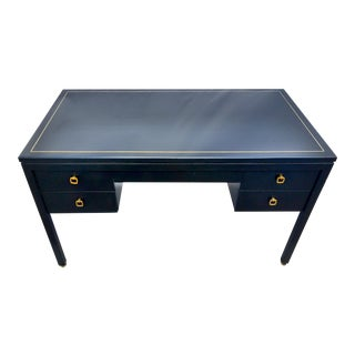 1950s Vintage American of Martinsville Desk Black With Brass Inlay For Sale