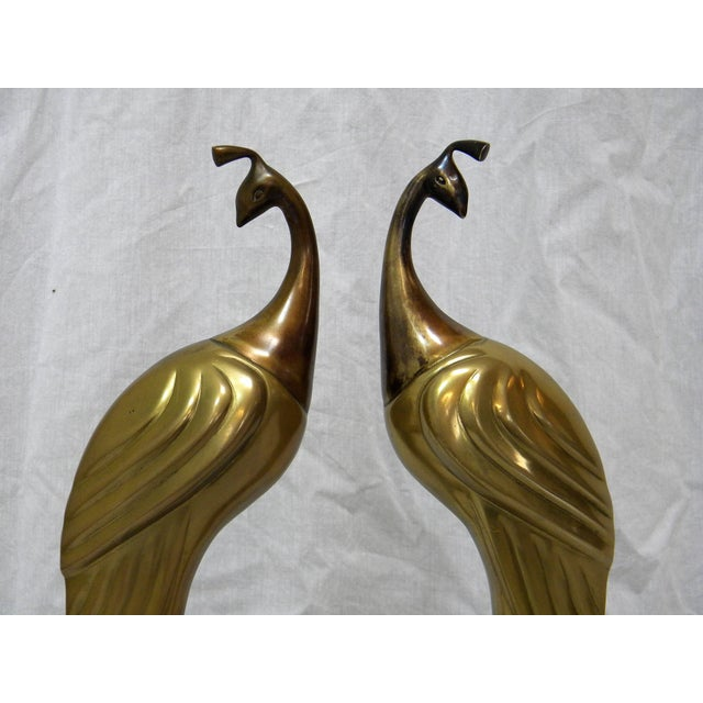 Circa 1980s Brass Peacock Figures - A Pair - Image 3 of 6