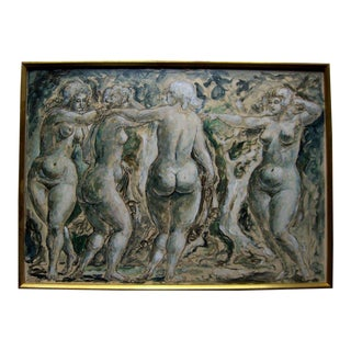 Mixed-Media on Board Nude Women Dancing Painting by Charles Burdick For Sale