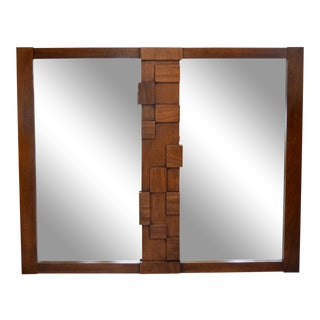 Mid-Century Lane Brutalist Double Mirror For Sale