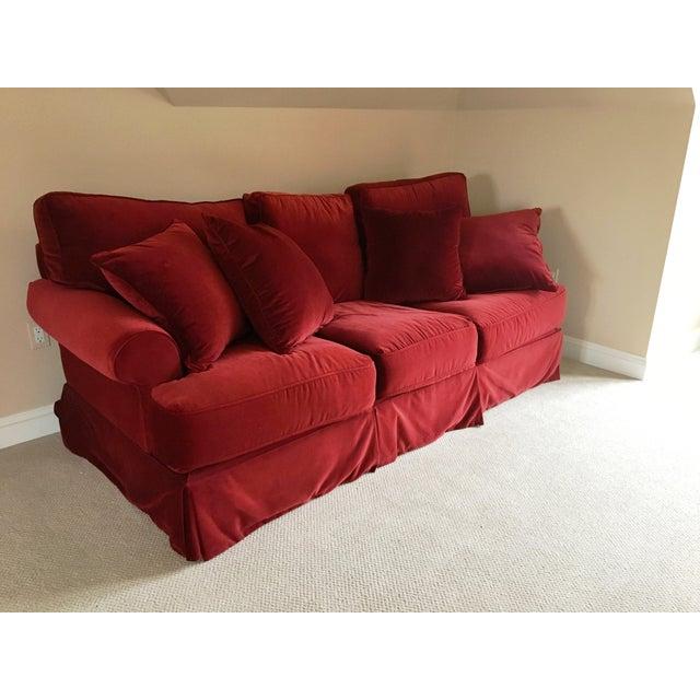 Red Velvet Standard Sofa - Image 2 of 3