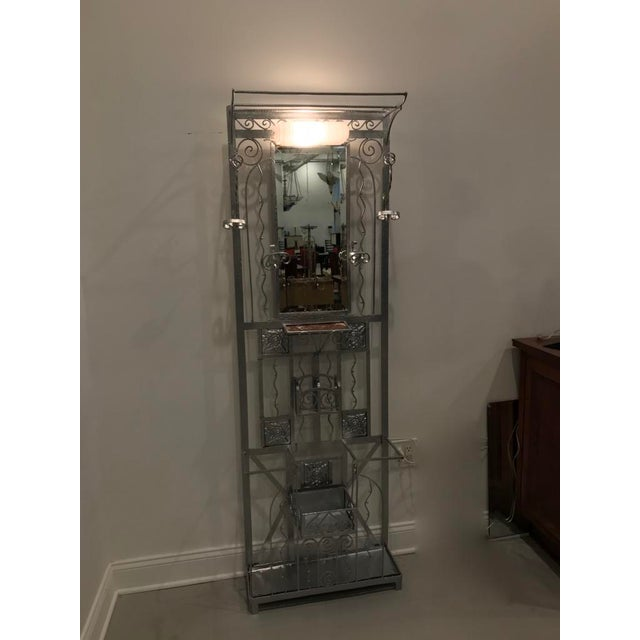 French Art Deco Hall Tree Coat Rack With Sabino Glass Light Sconce For Sale - Image 12 of 13