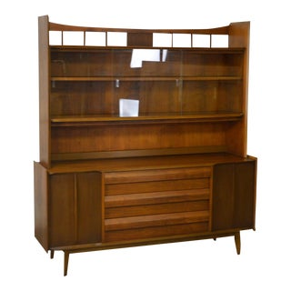 Lane Mid Century Modern Walnut Sideboard w/ Bookcase China Cabinet Top