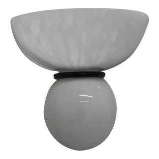 White Mid-Century Modern Murano Glass Wall Lamp For Sale